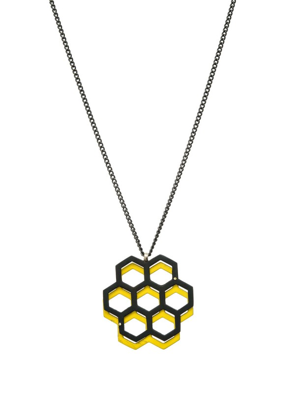 Honeycomb pendant – yellow & black