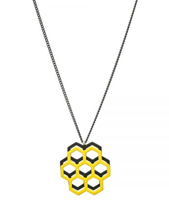 Honeycomb pendant - yellow & black