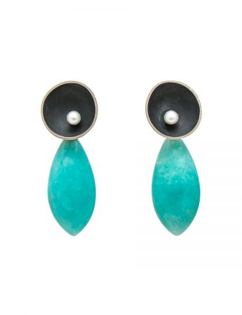 Dish Drop Earrings - Amazonite