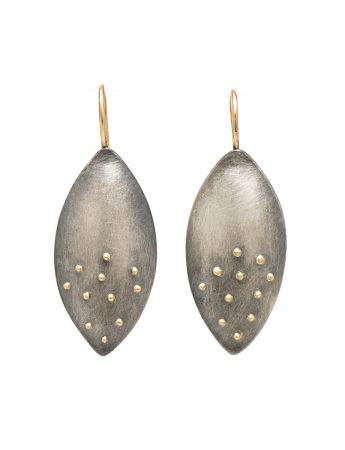 Raised Gold Dot Petal Hook Earrings