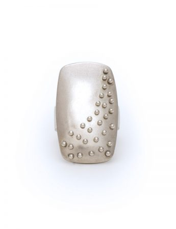 Raised Dot Silver Rectangle Ring