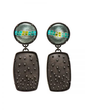 Raised Dot Drop Earrings - Circle & Rectangle