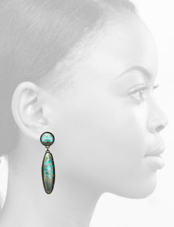 French Enamel Drop Earrings - Circle & Ellipse