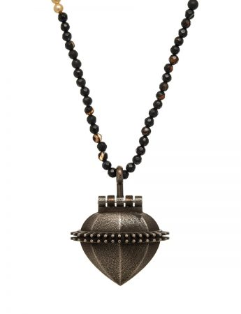 Bronze Ex Voto Locket - Cream & Black Shell Beads