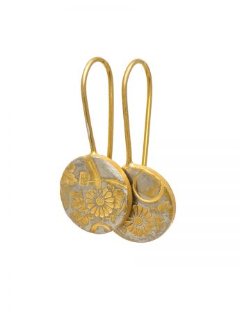 Japanese Flower Earrings - Gold Plate