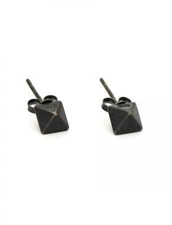 Micro Octahedron Stud Earrings - Oxidised Silver