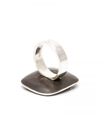 Raised Dot Square Ring - Oxidised