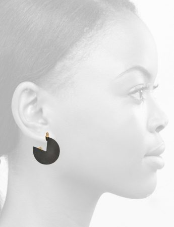 Oxidised Horizon Earrings - Yellow Gold
