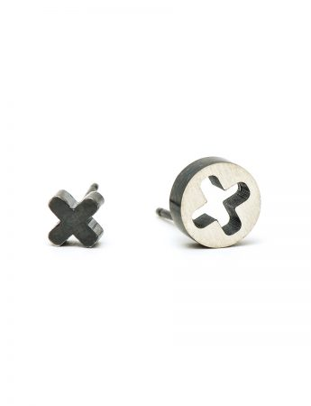 Punch Cross Stud Earrings - Oxidised Silver