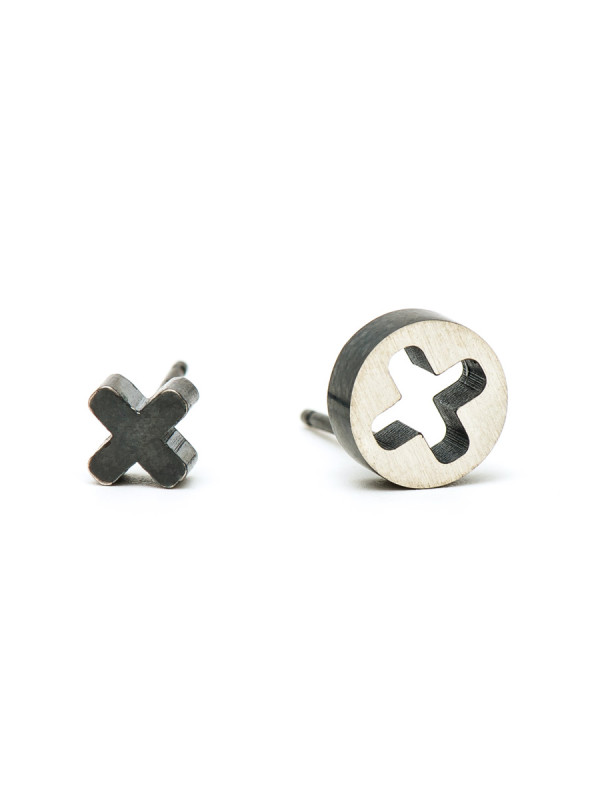Punch Cross Stud Earrings – Oxidised Silver