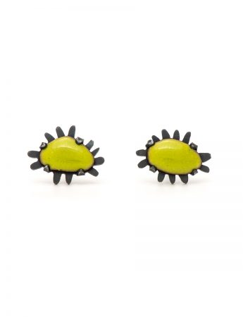 Tiny Enamelled Stud Earrings - Green