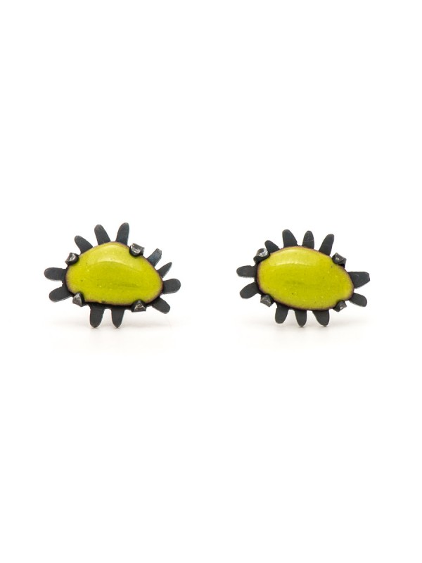Tiny Enamelled Stud Earrings – Green