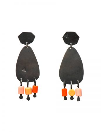 Small 'People Fringe' Earrings - Pink & Orange