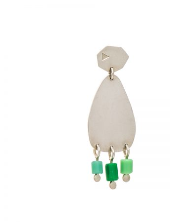 Small 'People Fringe' Earrings - Green