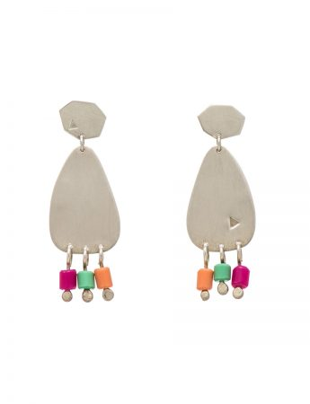 Small 'People Fringe' Earrings - Orange, Purple & Green