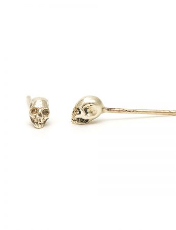 Tiny Skull Stud Earrings - White Gold