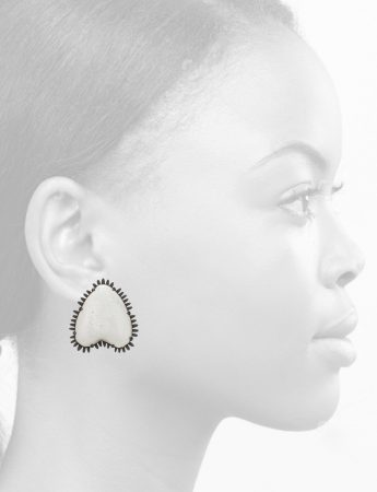 Demi-Heart Enamelled Earrings – White