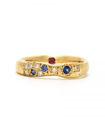 Thin Random Ring - Sapphire, Diamond & Ruby