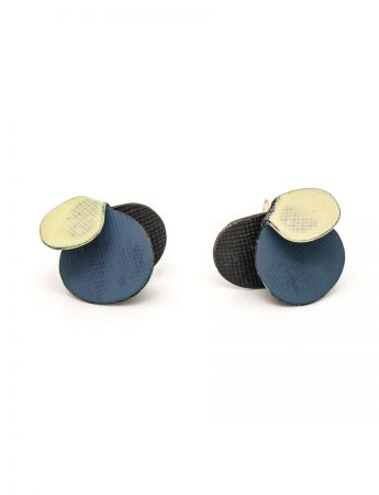 Violet Stud Earrings – Yellow & Dark Blue
