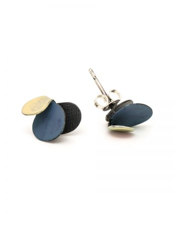 Violet Stud Earrings - Yellow & Dark Blue