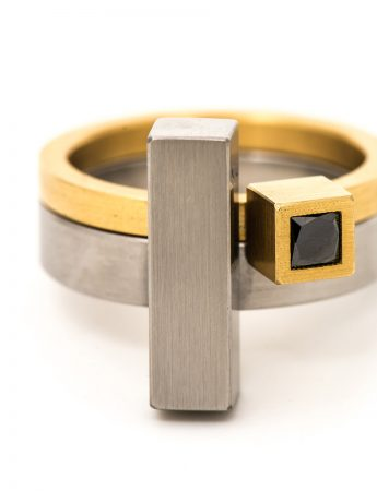 Cubist Ring – Yellow Gold & Black Diamond