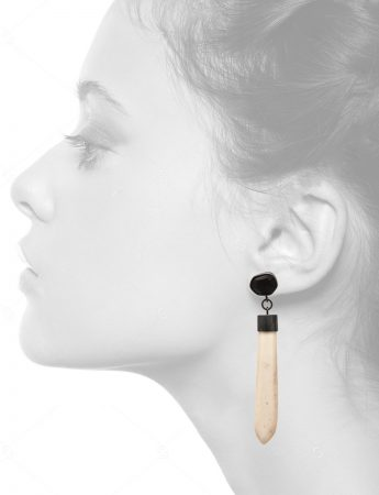 Ebony & Bone Pendant Earrings