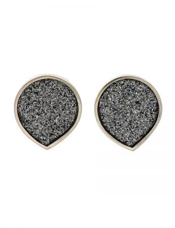 Teardrop Earrings - Grey Glitter