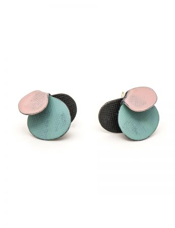 Violet Stud Earrings - Pink & Aqua Blue
