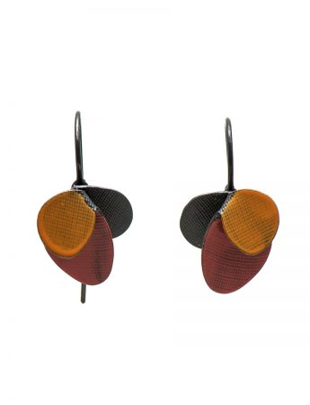 Violet Hook Earrings - Red & Orange
