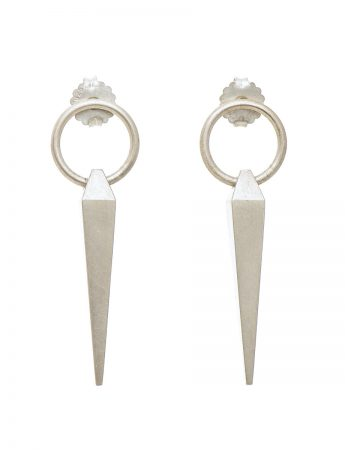 Circle Plumb Line Earrings - Silver