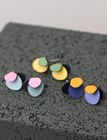 Violet Stud Earrings – Baby Blue & Pink