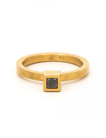 Cubist Ring - Yellow Gold & Black Diamond