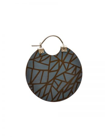 Triangles Disc Earrings - Blue & Brown