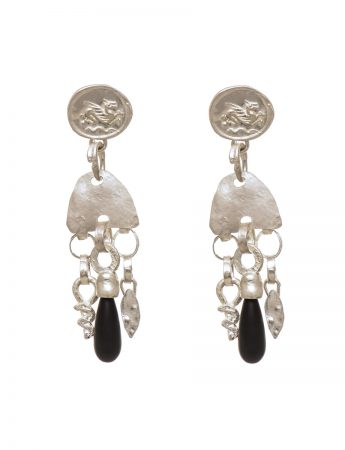 Vrios Earrings - Silver & Onyx