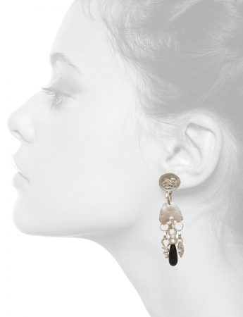 Vrios Earrings – Silver & Onyx