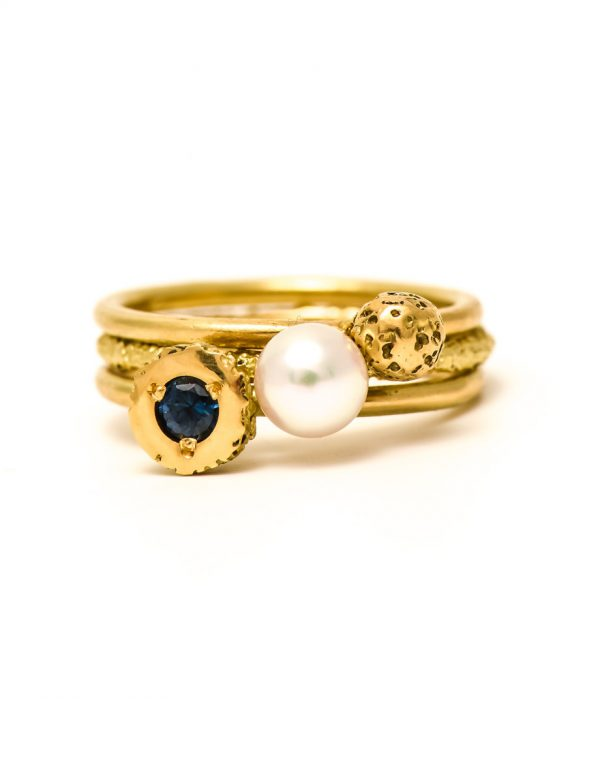 Solar Stack Rings – Pearl & Sapphire