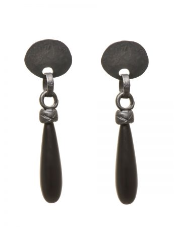 Troy Earrings - Oxidised Silver & Onyx