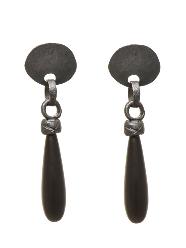 Troy Earrings – Oxidised Silver & Onyx