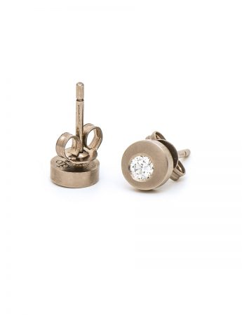 Disc Diamond Earrings - White Gold