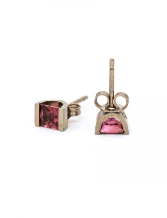 Pink Tourmaline Stud Earrings - White Gold