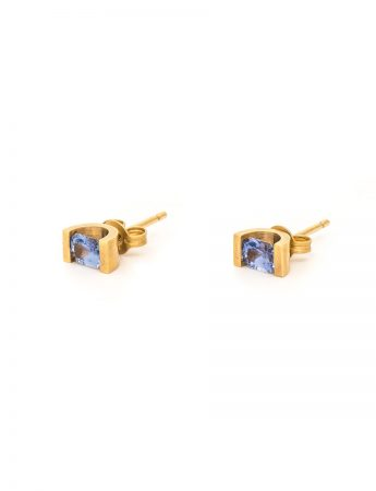 Cornflower Blue Sapphire Stud Earrings - Yellow Gold