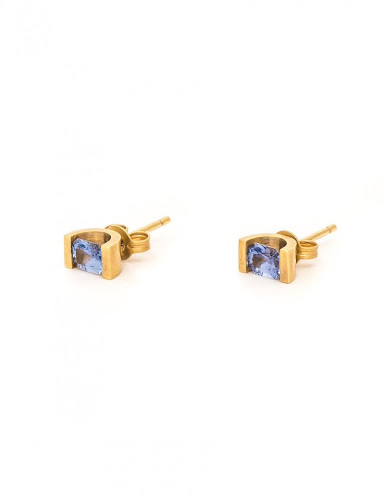 Cornflower Blue Sapphire Stud Earrings – Yellow Gold