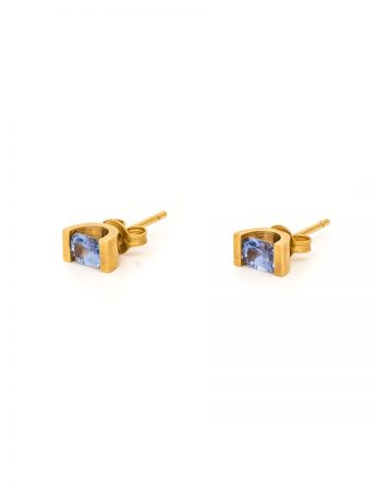 Ceylon Sapphire Stud Earrings - Yellow Gold