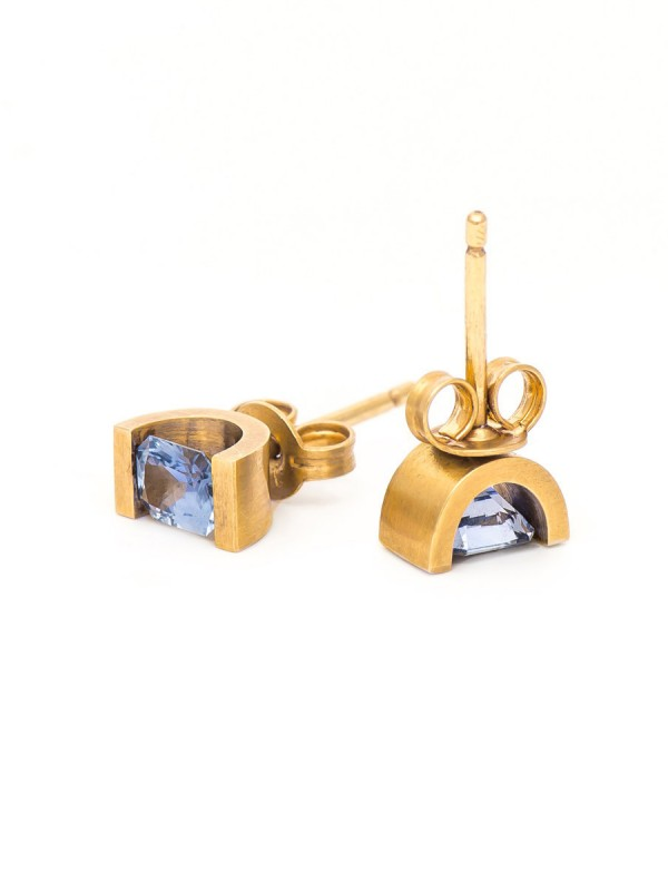 Ceylon Sapphire Stud Earrings – Yellow Gold