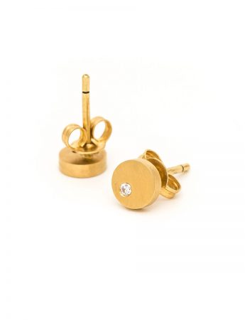 Disc Diamond Earrings - Yellow Gold