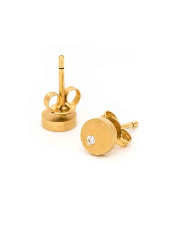 Disc Diamond Earrings – Yellow Gold