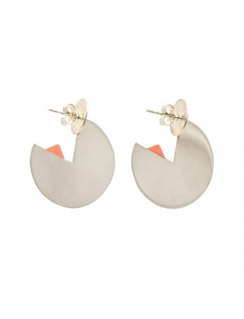 Silver Horizon Earrings - Peach