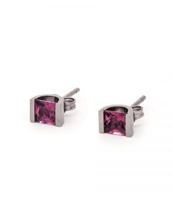 Pink Tourmaline Stud Earrings – White Gold