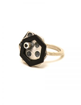Silver, Steel Ring - Black Spinel