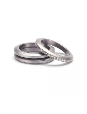 Profile Stack Ring - White Gold & Diamonds